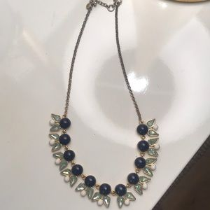 Statement necklace in shades of blue and green